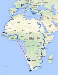 Itinéraire prévu par Olivier Rochat. Départ le 15 septembre
